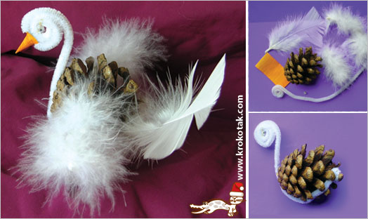 pine-cone swan, christmas crafts, nature materials