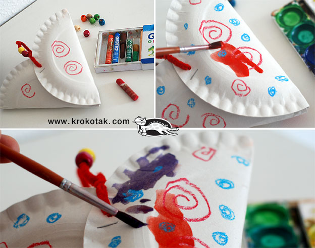 Decorate the basket with wax crayons then cover it with watercolor paint. The wax crayons will repel the paint creating an interesting pattern. Try it out! & krokotak | Easy PAPER PLATE HEARTS