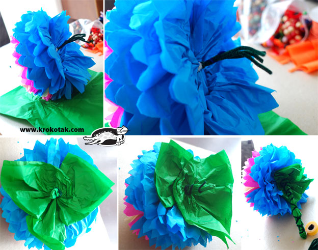 how to make different size tissue paper flowers