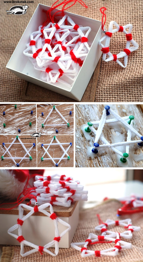 Krokotak Yarn And Pva Glue Christmas Stars