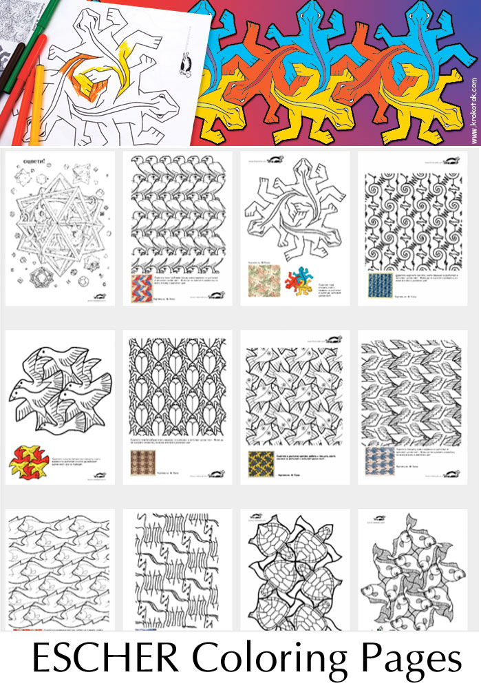 Krokotak Let S Draw Escher Style 13 Coloring Pages