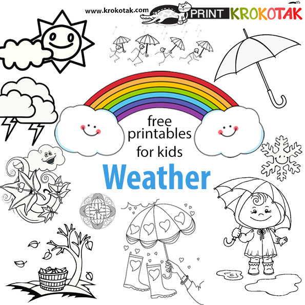Krokotak weather coloring pages for Weather coloring pages