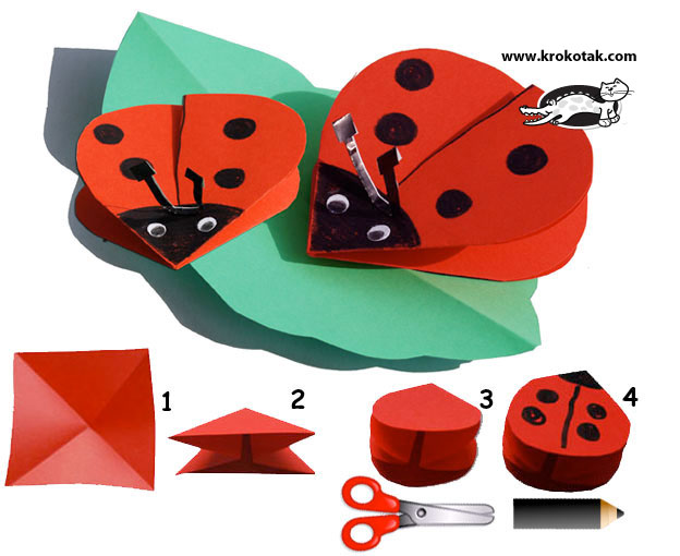 To make a ladybird, you need only one red paper square.