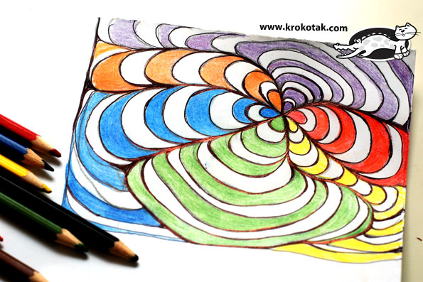 krokotak op art in black pen and colored pencils
