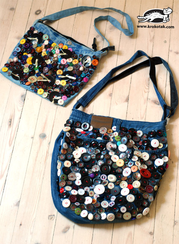 A bag out of old jeans, and many, many buttons