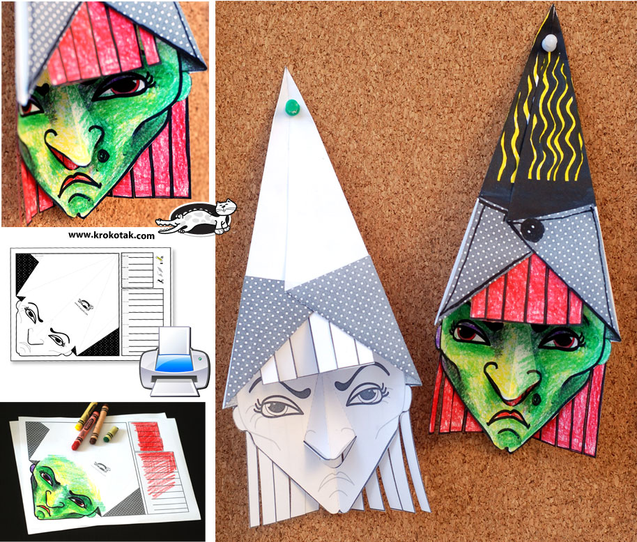 3D Witch with a template for print