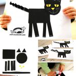 Easy cat collage from geometric shapes