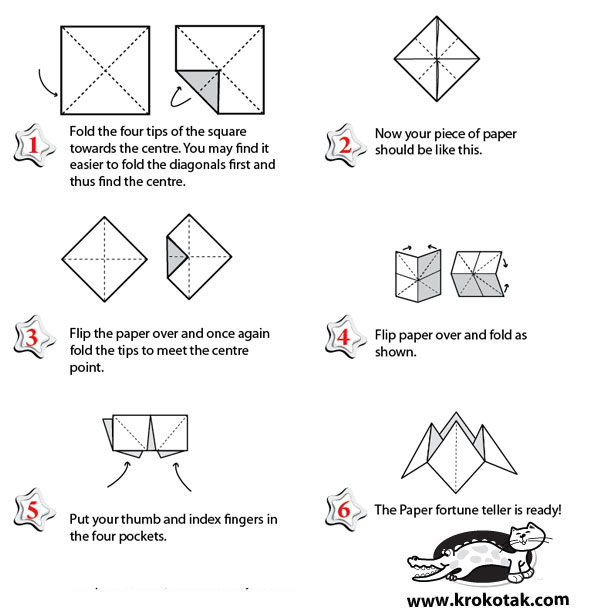 How To Make Paper Fortune Teller Instructions Kids Projects On ... | 613x595