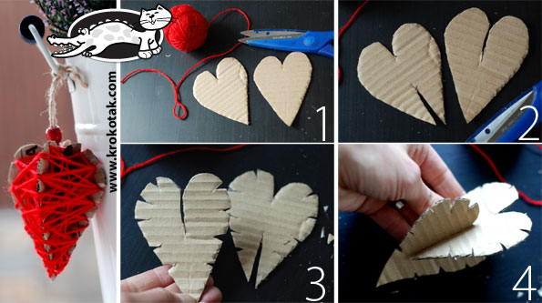 Hearts from cardboard and thread - three variants