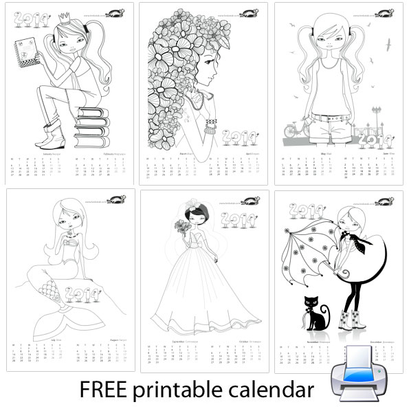 Colouring calendar for girls - 201