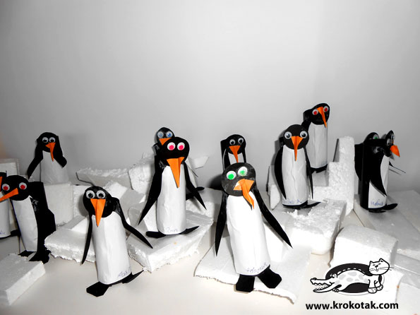 Penguins from empty toilet paper rolls