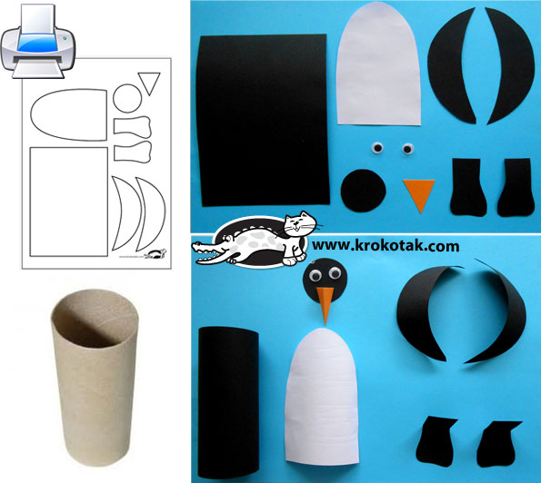 Krokotak Penguins From Empty Toilet Paper Rolls