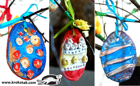 DIY eggs from salty dough for colouring