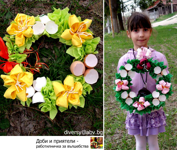 An eggshell Easter wreath