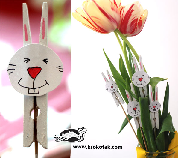Easter bunny from painted clothespins