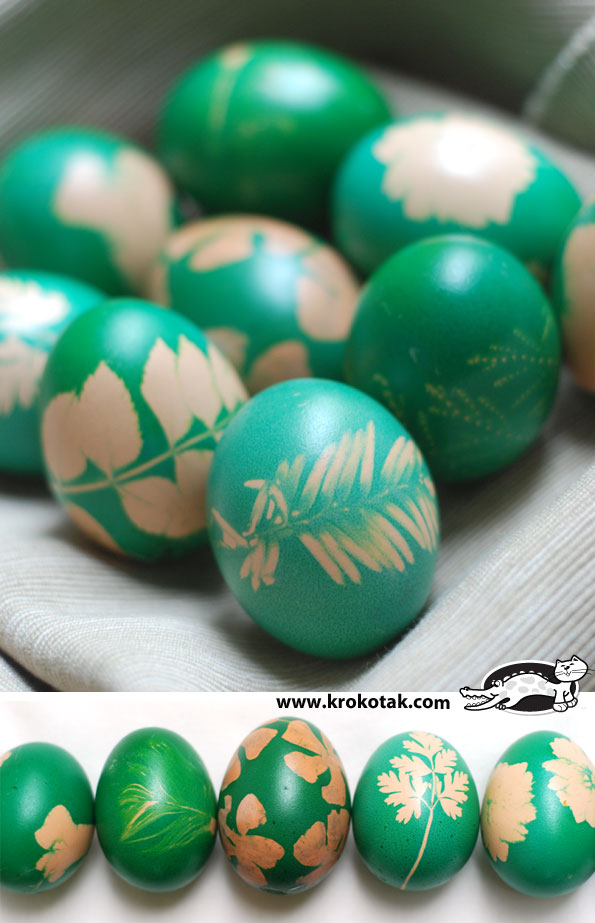 Tradition in green - egg dyeing with grass and flowers
