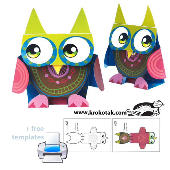 Paper owl – cut, fold and assemble | krokotak