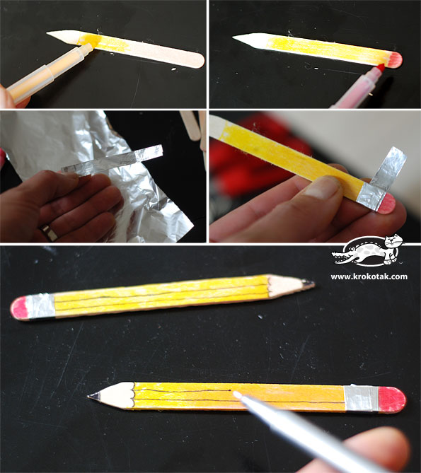Decoration pencils from ice cream sticks