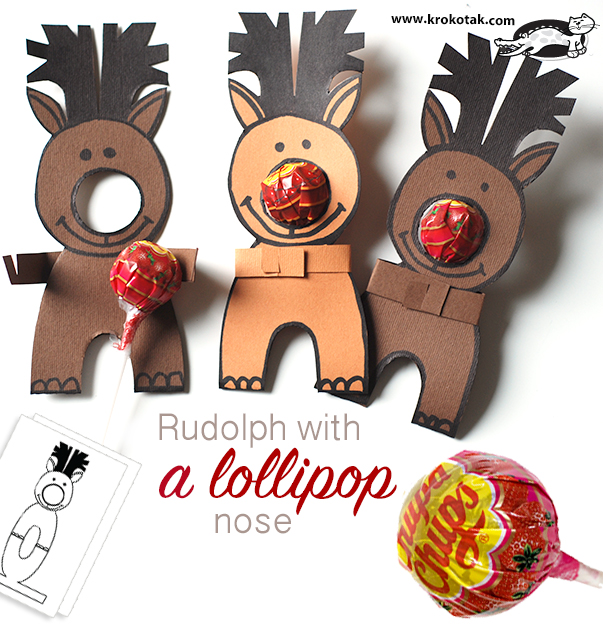 Rudolph with a lollipop nose