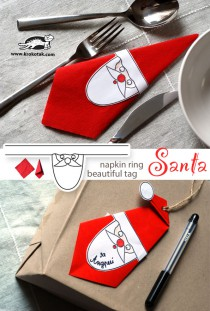 Santa - napkin ring and beautiful tag4