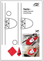 Krokotak santa napkin ring and beautiful tag you will have a beautiful santa after placing the white template on a red napkin the template is easy to cut and a little to color maxwellsz
