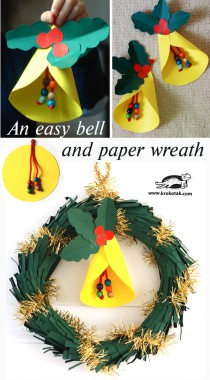 An DIY easy bell and paper wreath