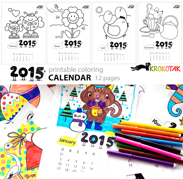 2015 Coloring Calendar - animals