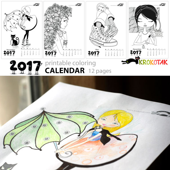 coloring calendar for girls – 12 pages (download the file from ...