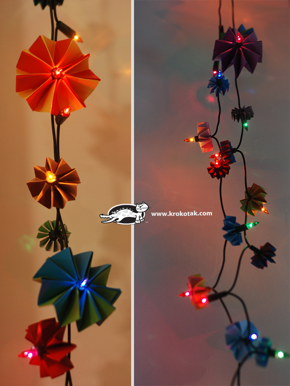 Flowers with Christmas Lights