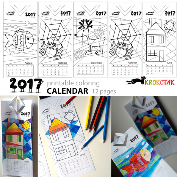 krokotak | 5 Printable Coloring Calendars 2017
