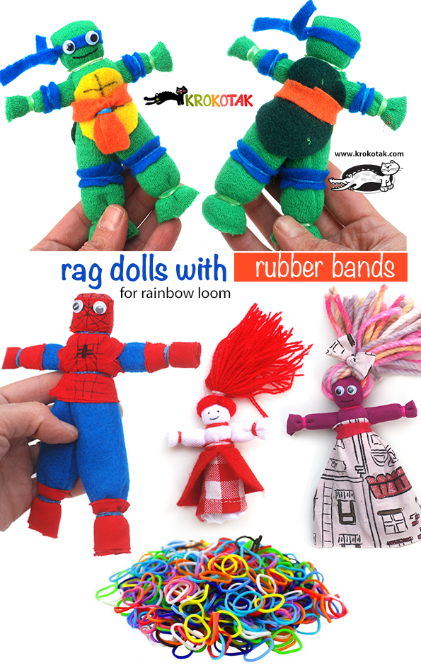 Rag dolls with rubber bands