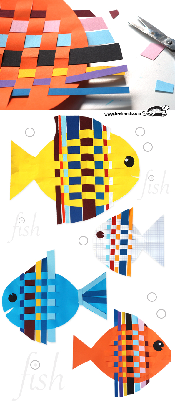 Krokotak fish from interwoven colored paper strips - Manualidades con papel craft ...