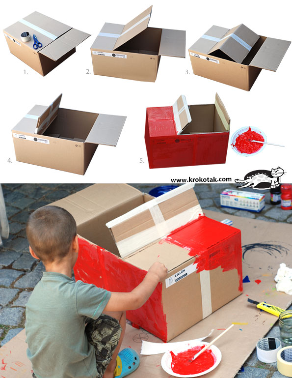 krokotak diy cardboard box car. Black Bedroom Furniture Sets. Home Design Ideas