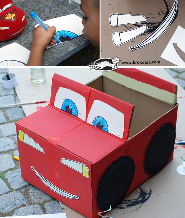 homemade cardboard box cars 1