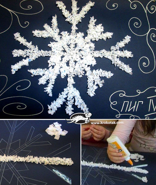 A Big Snowflake, made via the Scrunched Paper Mosaic technique