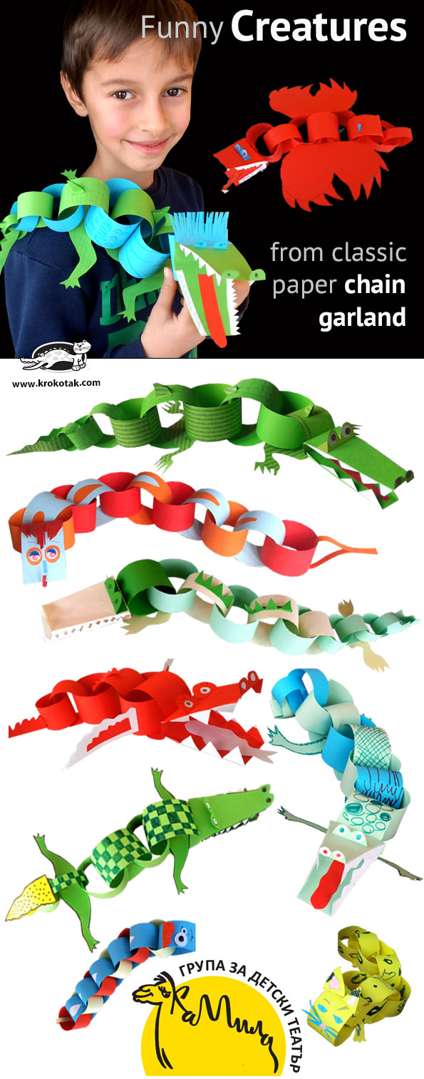 Funny Creatures from classic paper chain garland