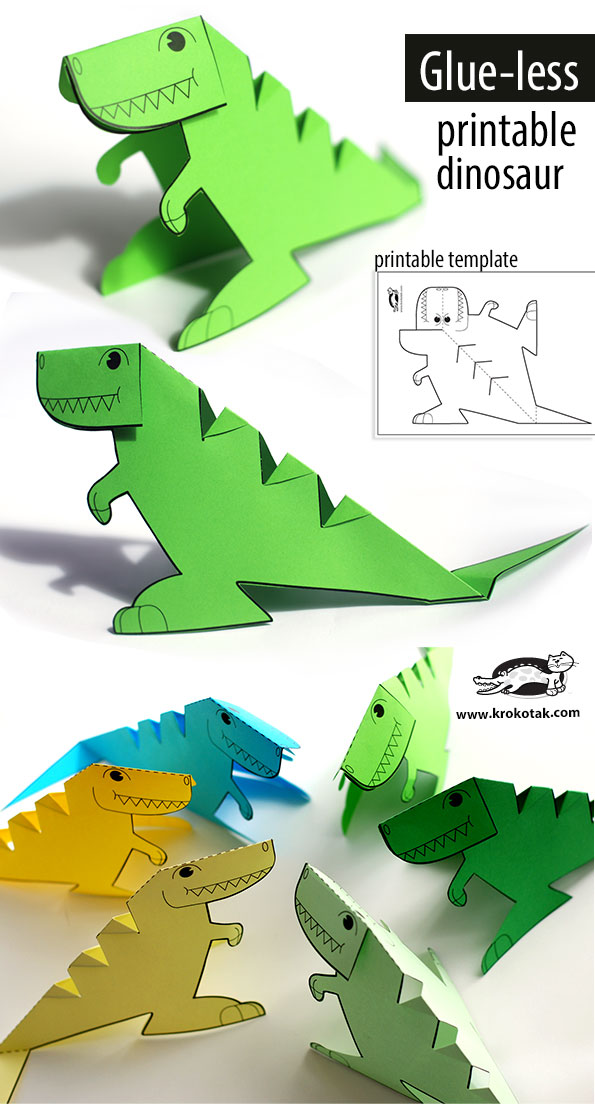 photograph regarding Dinosaur Template Printable known as krokotak Glue-lee printable dinosaur