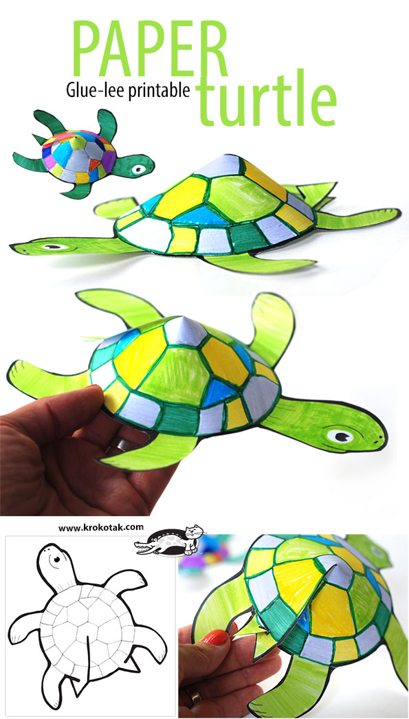 picture about Turtle Templates Printable named krokotak Glue-a lot less printable turtle