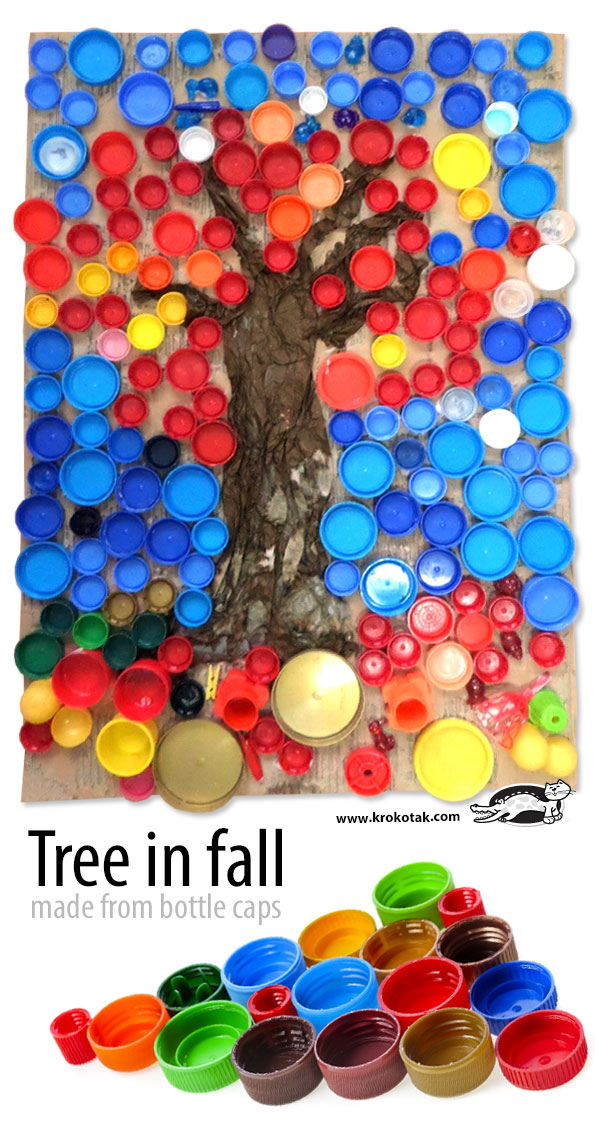 Krokotak tree in fall made from bottle caps for What can i make with bottle caps