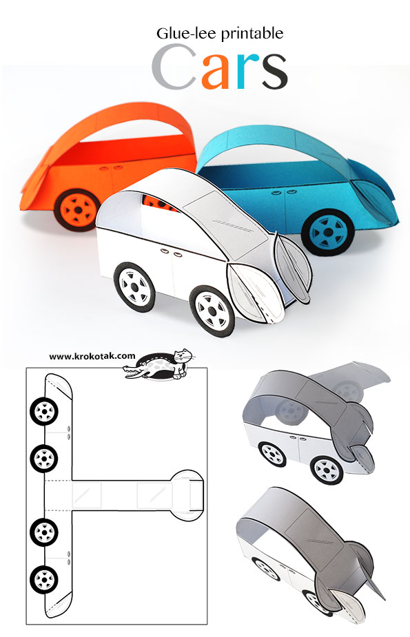 picture relating to Car Printable known as krokotak Glue-lee printable Cars and trucks