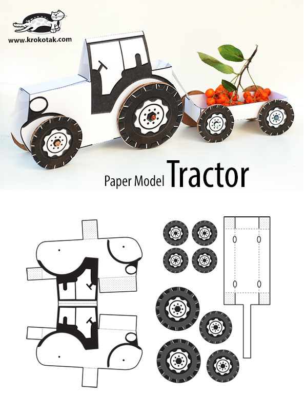 Krokotak tractor paper model for Tractor template to print