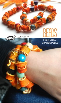 BEADS  FROM DRIED  ORANGE PEELS