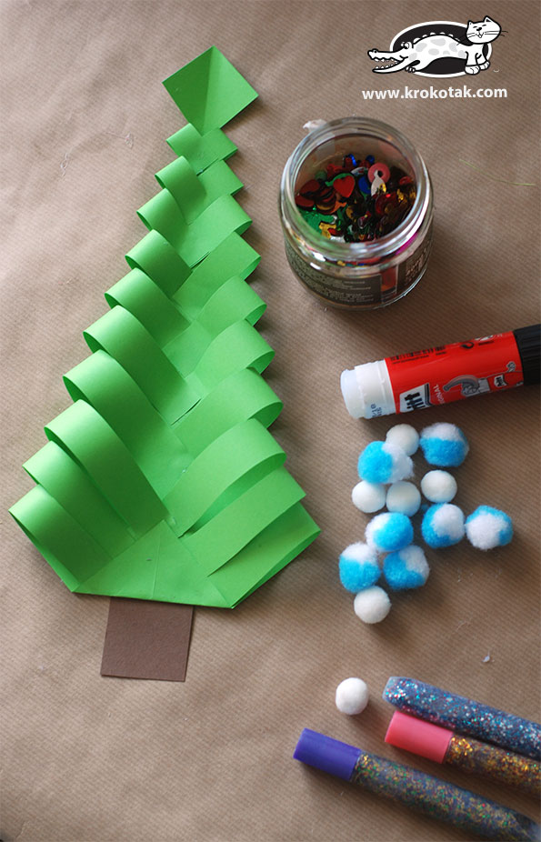 Christmas Tree Craft.Krokotak Diy Paper Christmas Trees
