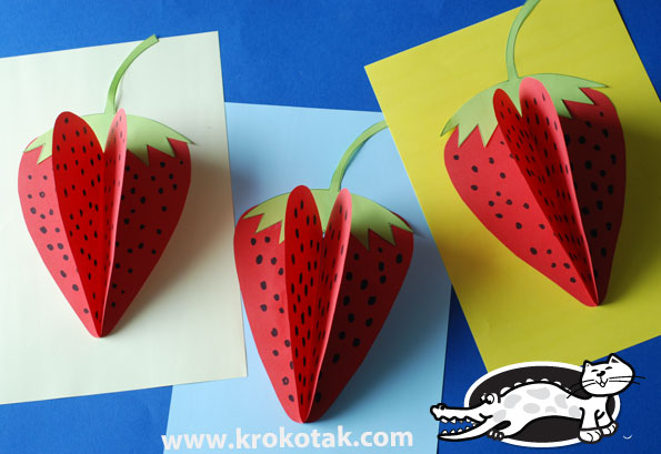 Krokotak strawberry paper craft for Craft made by paper