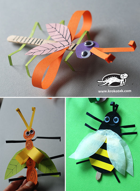 krokotak BUGS from ice cream wooden sticks - How To Make Paper Christmas Decorations At Home