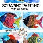 Scraping painting with oil pastel