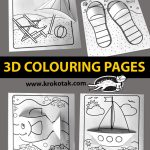 3D colouring pages