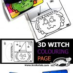 3D WITCH COLOURING PAGE