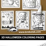 3D HALLOWEEN COLORING PAGES